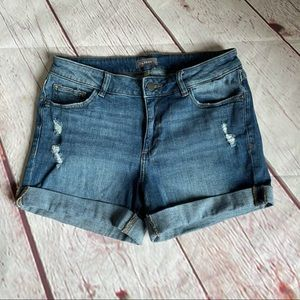 DL1961 Distressed Roll Up Cuff Comfy Shorts
